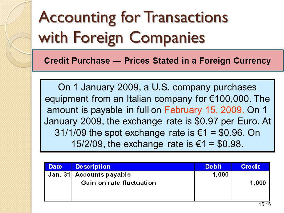 15-16 Accounting for Transactions with Foreign Companies On 1 January 2009, a U.S.
