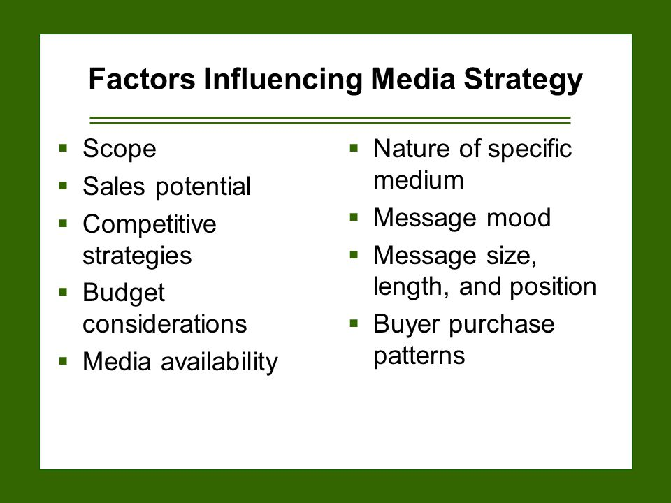 15-14 Factors Influencing Media Strategy  Scope  Sales potential  Competitive strategies  Budget considerations  Media availability  Nature of specific medium  Message mood  Message size, length, and position  Buyer purchase patterns