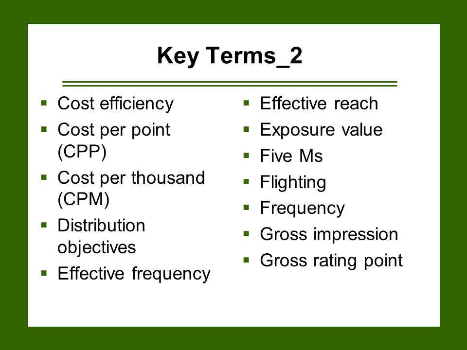 15-24 Key Terms_2  Cost efficiency  Cost per point (CPP)  Cost per thousand (CPM)  Distribution objectives  Effective frequency  Effective reach  Exposure value  Five Ms  Flighting  Frequency  Gross impression  Gross rating point