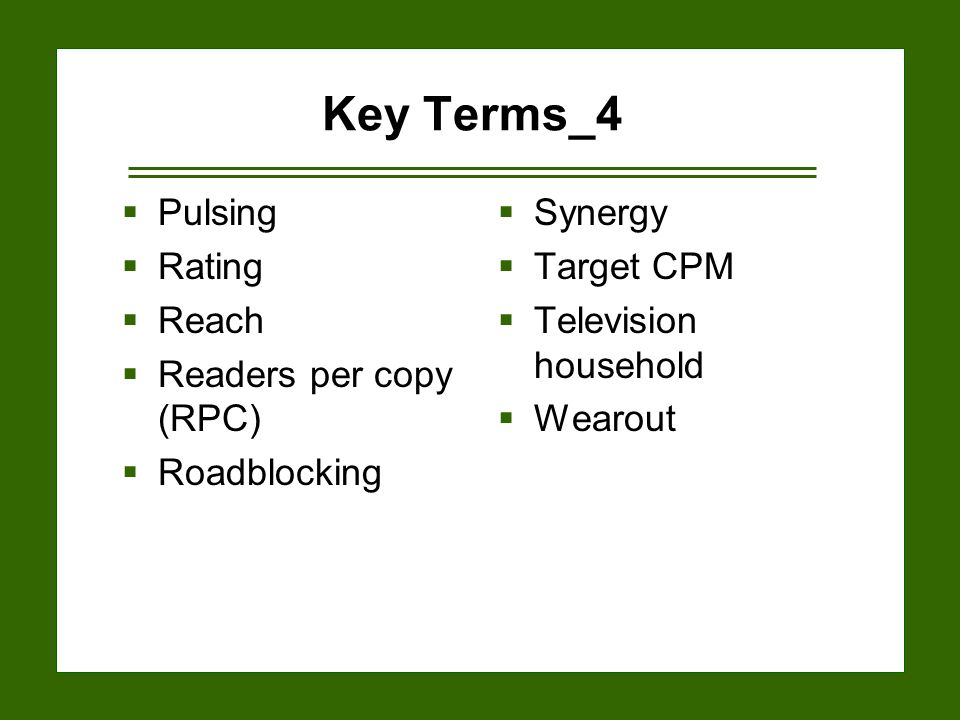 15-26 Key Terms_4  Pulsing  Rating  Reach  Readers per copy (RPC)  Roadblocking  Synergy  Target CPM  Television household  Wearout