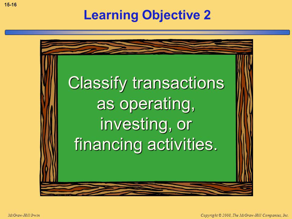 Copyright © 2008, The McGraw-Hill Companies, Inc.McGraw-Hill/Irwin Learning Objective 2 Classify transactions as operating, investing, or financing activities.