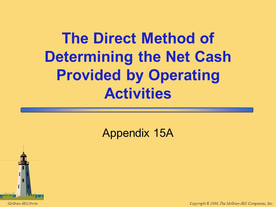 Copyright © 2008, The McGraw-Hill Companies, Inc.McGraw-Hill/Irwin The Direct Method of Determining the Net Cash Provided by Operating Activities Appendix 15A