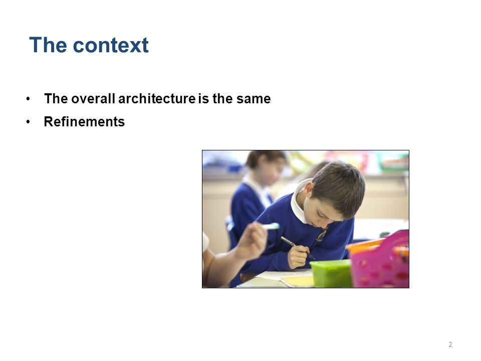 The context The overall architecture is the same Refinements 2