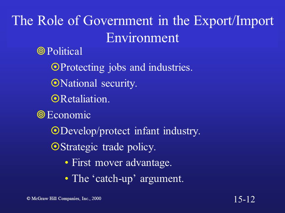 The Role of Government in the Export/Import Environment  Political  Protecting jobs and industries.