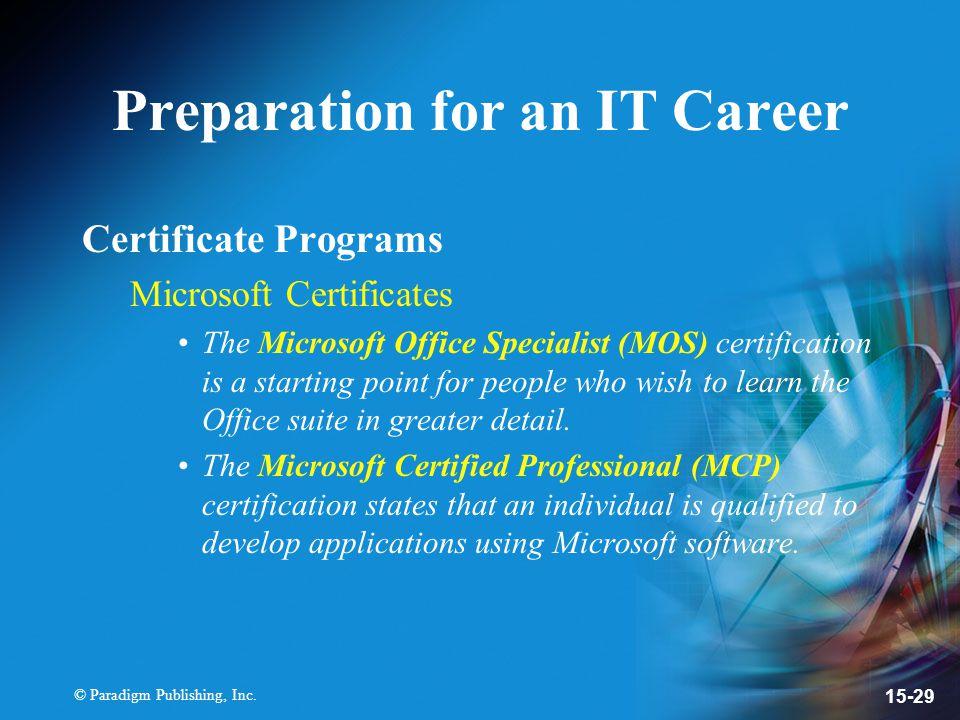 Paradigm Publishing Inc Chapter 15 Information Technology Careers