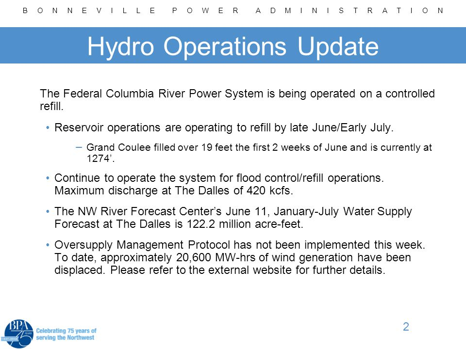 B O N N E V I L L E P O W E R A D M I N I S T R A T I O N 2 Hydro Operations Update The Federal Columbia River Power System is being operated on a controlled refill.
