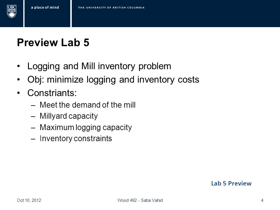 Preview Lab 5 Logging and Mill inventory problem Obj: minimize logging and inventory costs Constriants: –Meet the demand of the mill –Millyard capacity –Maximum logging capacity –Inventory constraints Oct 10, 2012Wood Saba Vahid4 Lab 5 Preview
