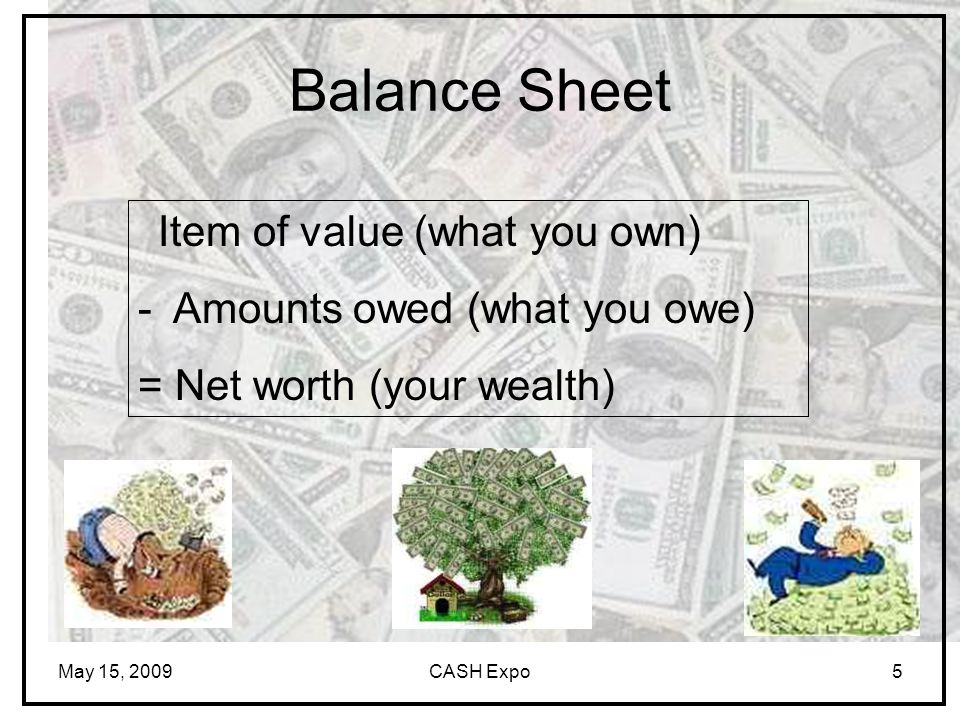 May 15, 2009CASH Expo5 Balance Sheet Item of value (what you own) - Amounts owed (what you owe) = Net worth (your wealth)