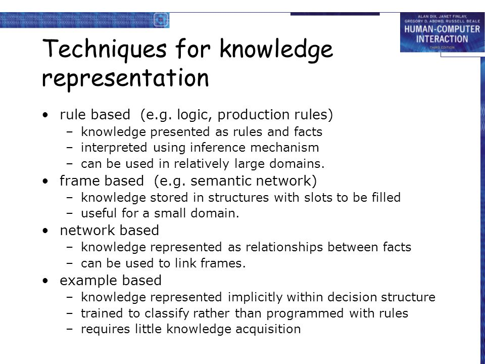 Techniques for knowledge representation rule based (e.g.