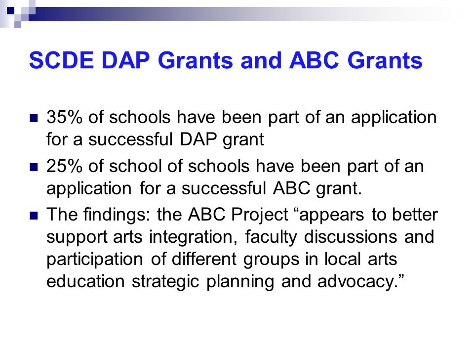 SCDE DAP Grants and ABC Grants 35% of schools have been part of an application for a successful DAP grant 25% of school of schools have been part of an application for a successful ABC grant.