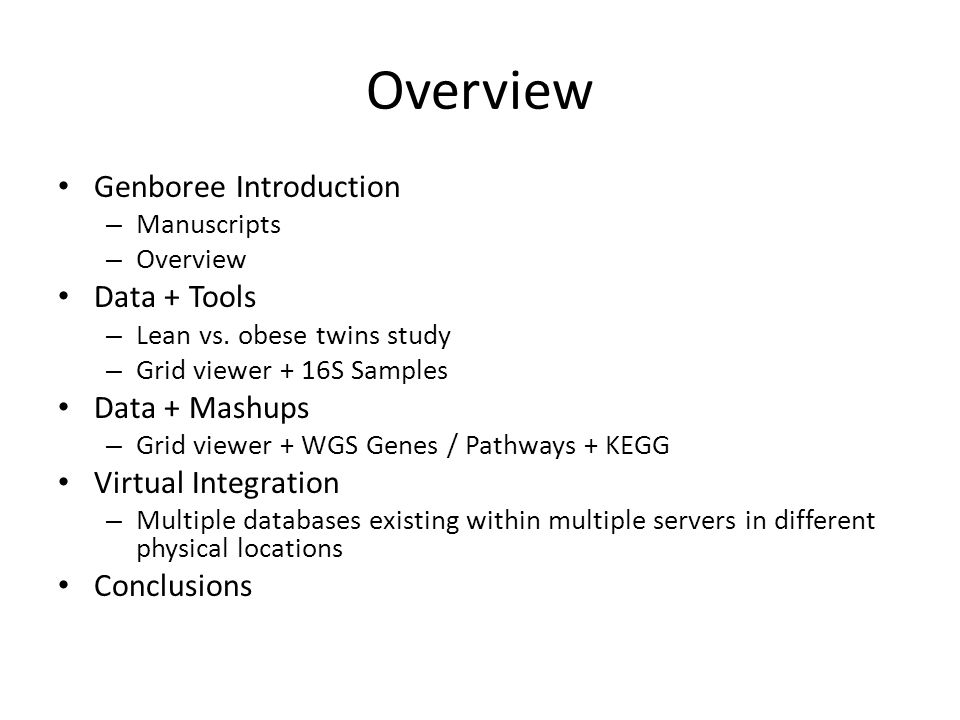 Overview Genboree Introduction – Manuscripts – Overview Data + Tools – Lean vs.