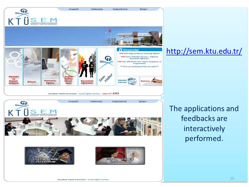 The applications and feedbacks are interactively performed.