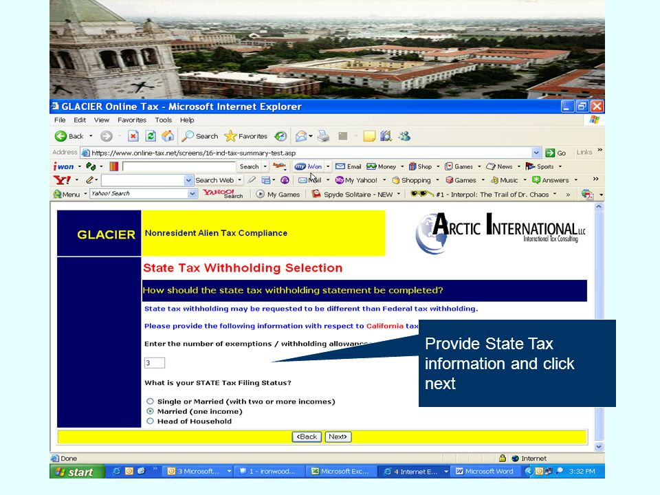 Provide State Tax information and click next