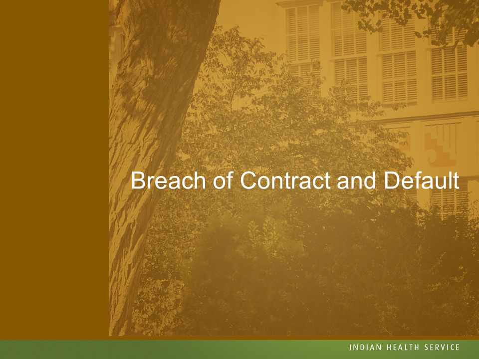 Breach of Contract and Default