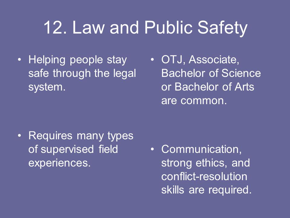 12. Law and Public Safety Helping people stay safe through the legal system.