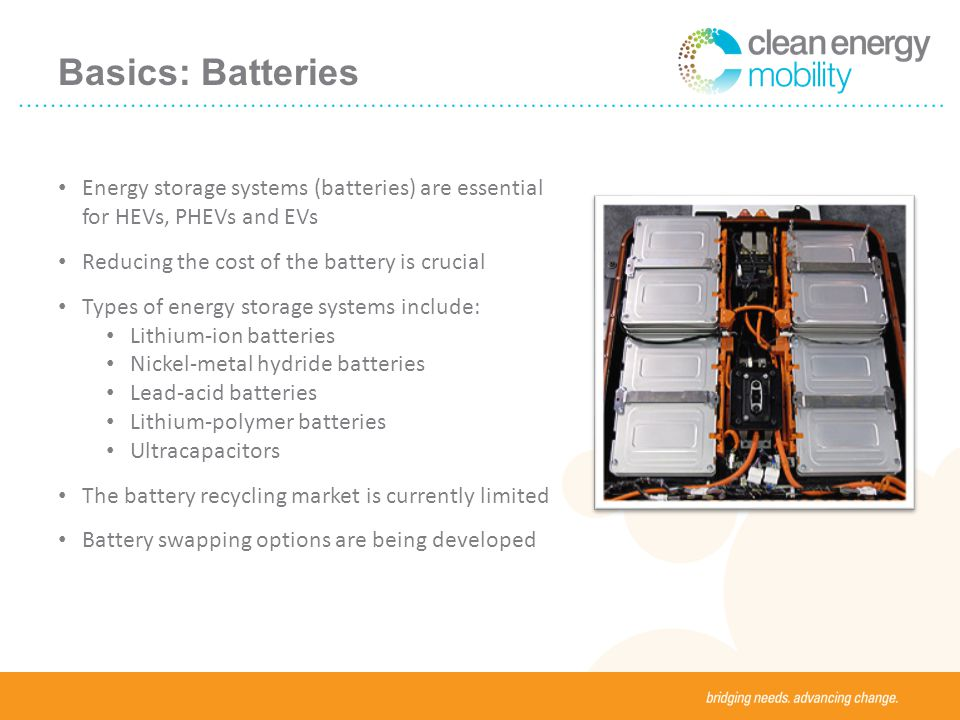 Basics: Batteries Energy storage systems (batteries) are essential for HEVs, PHEVs and EVs Reducing the cost of the battery is crucial Types of energy storage systems include: Lithium-ion batteries Nickel-metal hydride batteries Lead-acid batteries Lithium-polymer batteries Ultracapacitors The battery recycling market is currently limited Battery swapping options are being developed