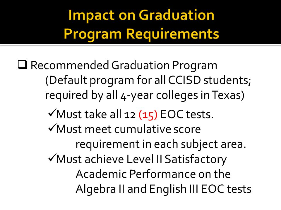  Recommended Graduation Program (Default program for all CCISD students; required by all 4-year colleges in Texas) Must take all 12 (15) EOC tests.