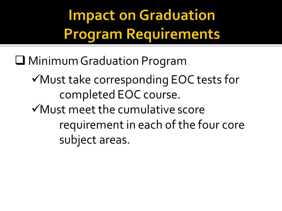  Minimum Graduation Program Must take corresponding EOC tests for completed EOC course.