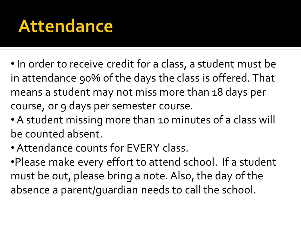 In order to receive credit for a class, a student must be in attendance 90% of the days the class is offered.