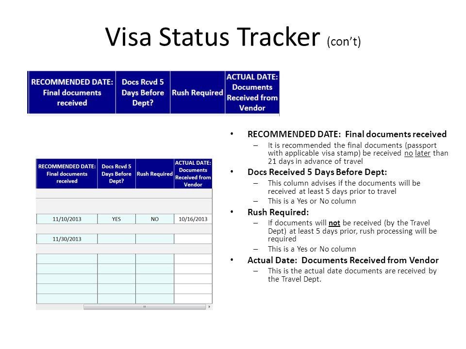 Travel docs visa status