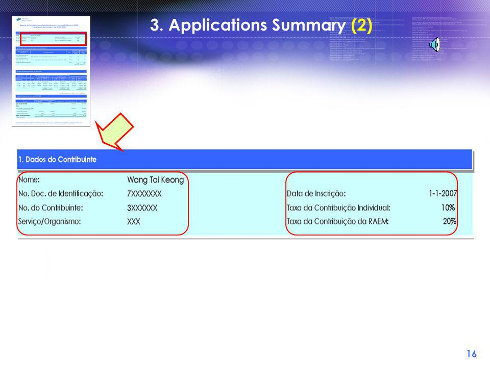 15 3. Applications Summary (1)