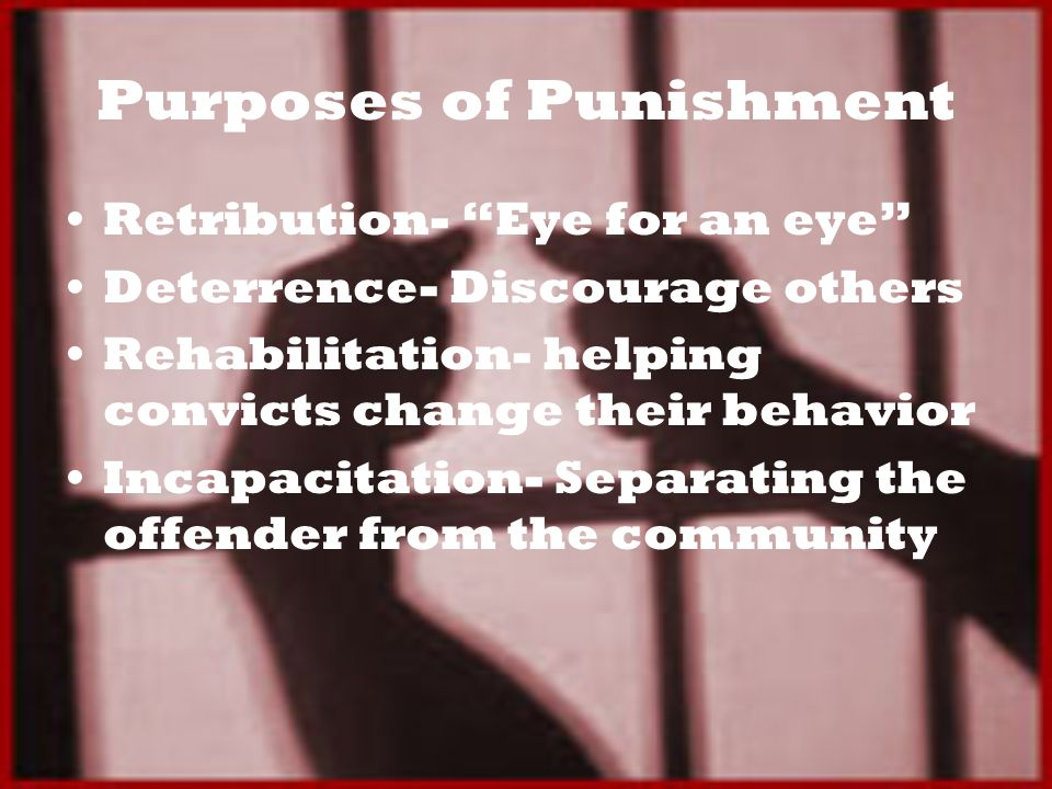 Purposes of Punishment Retribution- Eye for an eye Deterrence- Discourage others Rehabilitation- helping convicts change their behavior Incapacitation- Separating the offender from the community