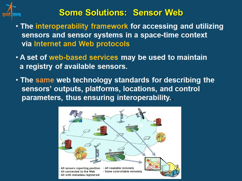 The interoperability framework for accessing and utilizing sensors and sensor systems in a space-time context via Internet and Web protocols A set of web-based services may be used to maintain a registry of available sensors.
