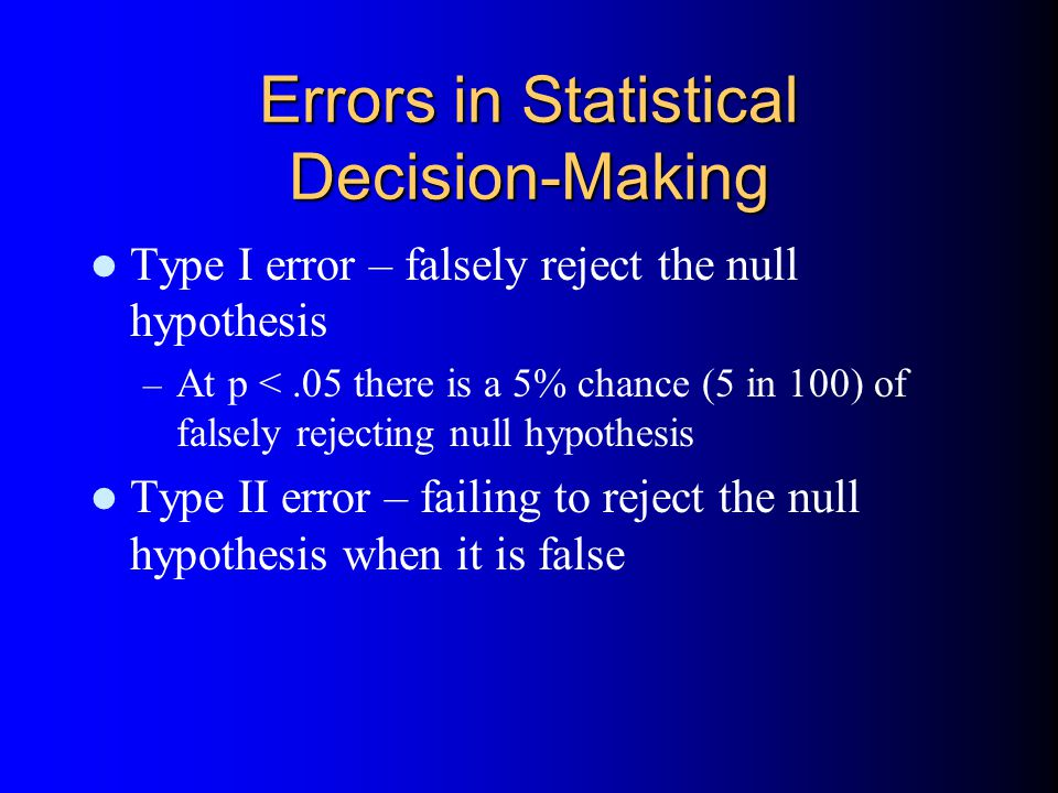 Errors in Statistical Decision-Making Type I error – falsely reject the null hypothesis – At p <.05 there is a 5% chance (5 in 100) of falsely rejecting null hypothesis Type II error – failing to reject the null hypothesis when it is false