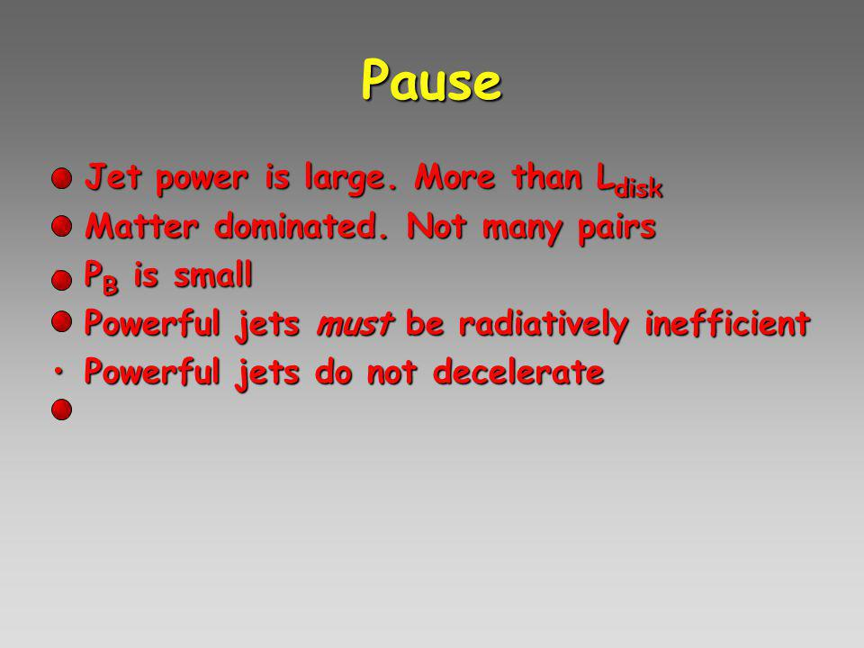 Pause Jet power is large. More than L diskJet power is large.