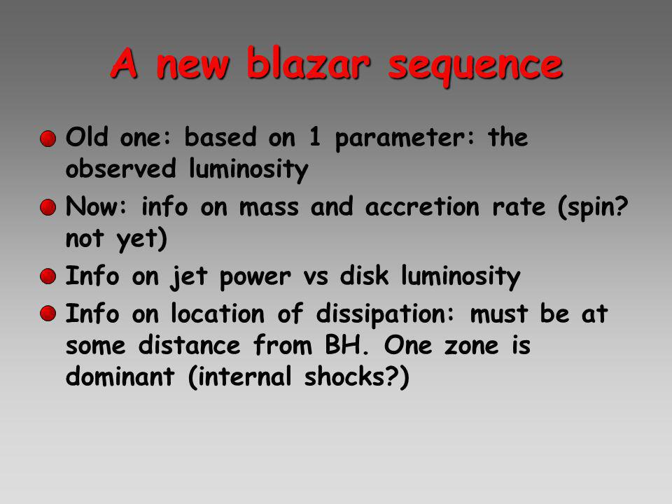 A new blazar sequence Old one: based on 1 parameter: the observed luminosity Now: info on mass and accretion rate (spin.