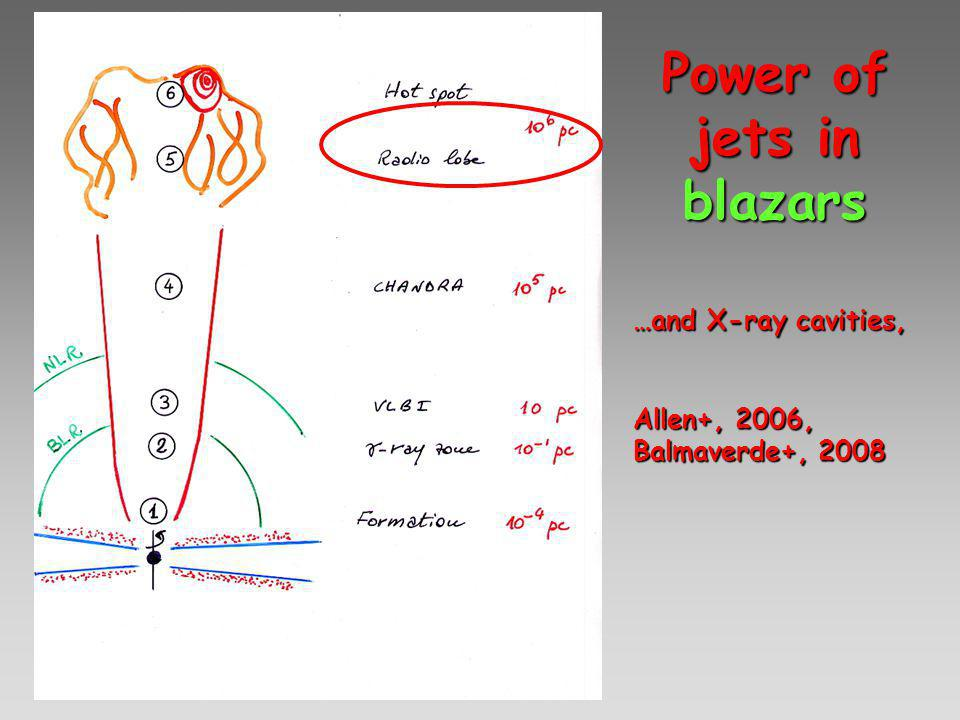 Power of jets in blazars …and X-ray cavities, Allen+, 2006, Balmaverde+, 2008