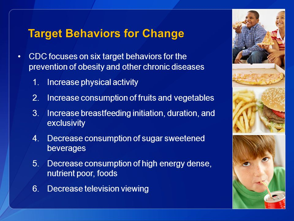 Target Behaviors for Change CDC focuses on six target behaviors for the prevention of obesity and other chronic diseases 1.Increase physical activity 2.Increase consumption of fruits and vegetables 3.Increase breastfeeding initiation, duration, and exclusivity 4.Decrease consumption of sugar sweetened beverages 5.Decrease consumption of high energy dense, nutrient poor, foods 6.Decrease television viewing