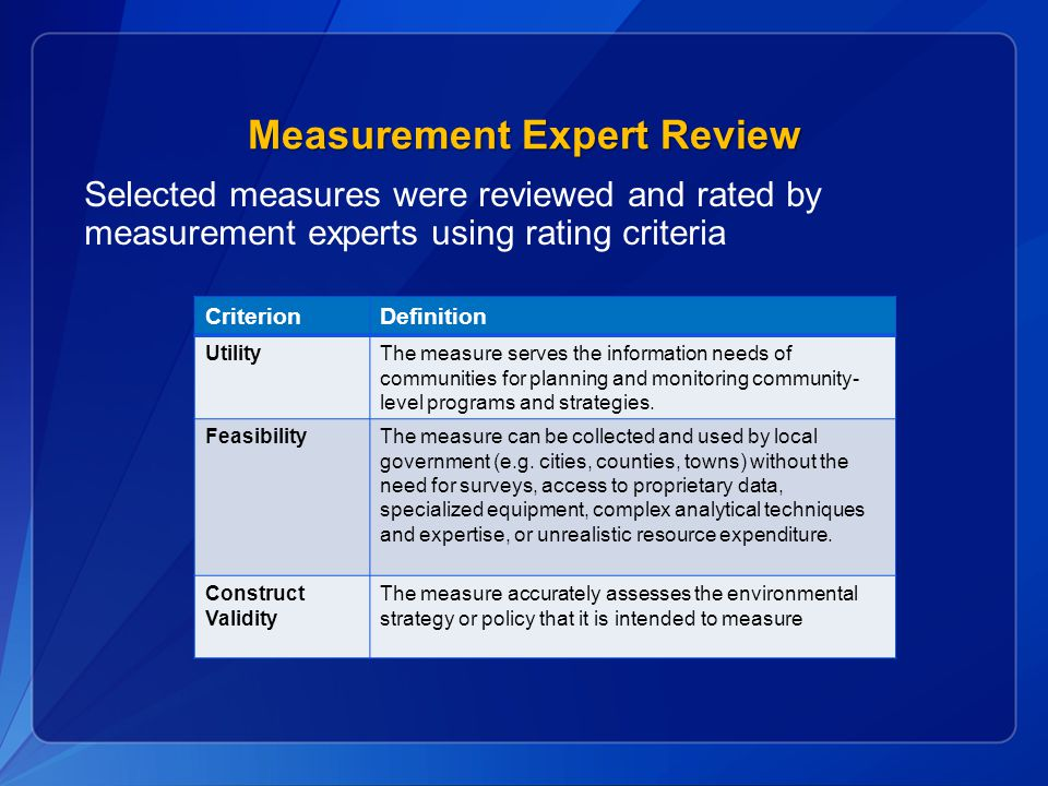 Measurement Expert Review Selected measures were reviewed and rated by measurement experts using rating criteria CriterionDefinition UtilityThe measure serves the information needs of communities for planning and monitoring community- level programs and strategies.