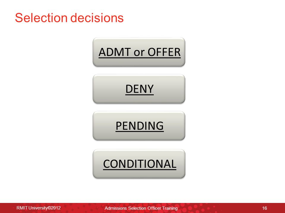Direct Admissions Selection Officer training mid year ppt