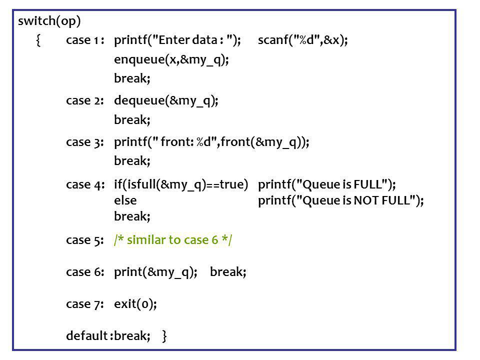 Senem Kumova Metin Spring2009 switch(op) {case 1 :printf( Enter data : ); scanf( %d ,&x); enqueue(x,&my_q); break; case 2:dequeue(&my_q); break; case 3:printf( front: %d ,front(&my_q)); break; case 4:if(isfull(&my_q)==true) printf( Queue is FULL ); else printf( Queue is NOT FULL ); break; case 5:/* similar to case 6 */ case 6:print(&my_q); break; case 7:exit(0); default :break;}