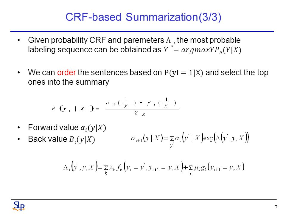 CRF-based Summarization(3/3) 7