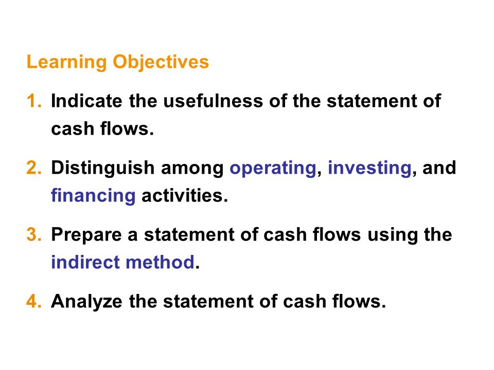 Learning Objectives 1.Indicate the usefulness of the statement of cash flows.