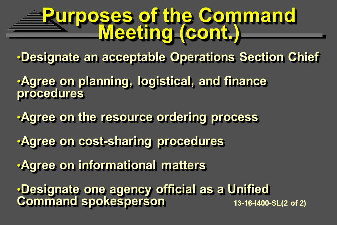 Purposes of the Command Meeting (cont.) Designate an acceptable Operations Section Chief Designate an acceptable Operations Section Chief Agree on planning, logistical, and finance procedures Agree on planning, logistical, and finance procedures Agree on the resource ordering process Agree on the resource ordering process Agree on cost-sharing procedures Agree on cost-sharing procedures Agree on informational matters Agree on informational matters Designate one agency official as a Unified Command spokesperson Designate one agency official as a Unified Command spokesperson Designate an acceptable Operations Section Chief Designate an acceptable Operations Section Chief Agree on planning, logistical, and finance procedures Agree on planning, logistical, and finance procedures Agree on the resource ordering process Agree on the resource ordering process Agree on cost-sharing procedures Agree on cost-sharing procedures Agree on informational matters Agree on informational matters Designate one agency official as a Unified Command spokesperson Designate one agency official as a Unified Command spokesperson I400-SL(2 of 2)
