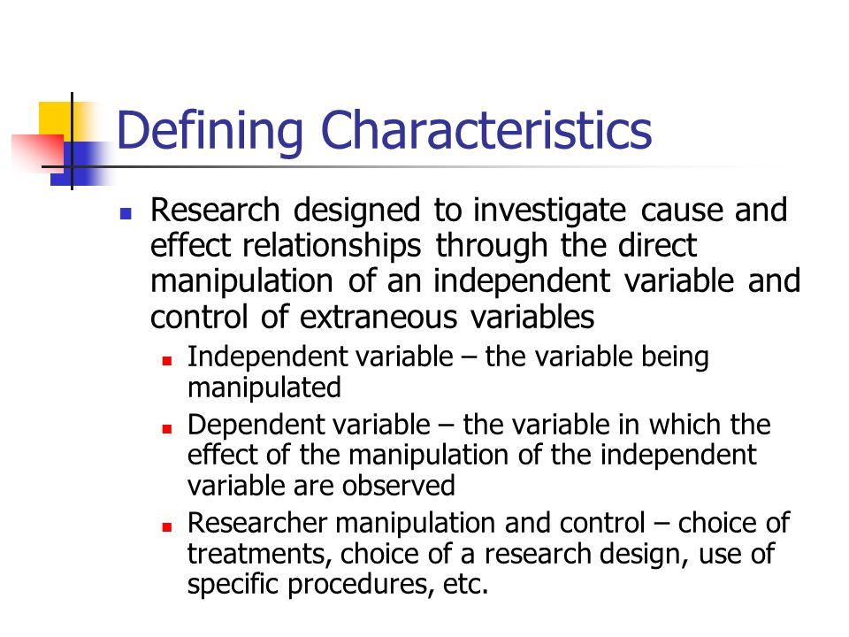 Topics Discussed in this Chapter Defining characteristics The experimental process Manipulation and control Threats to validity Internal validity External validity Group designs Single subject designs