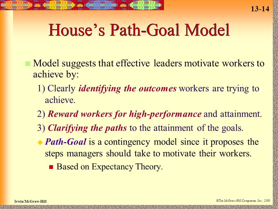 13-14 Irwin/McGraw-Hill ©The McGraw-Hill Companies, Inc., 2000 House's Path-Goal Model Model suggests that effective leaders motivate workers to achieve by: 1) Clearly identifying the outcomes workers are trying to achieve.