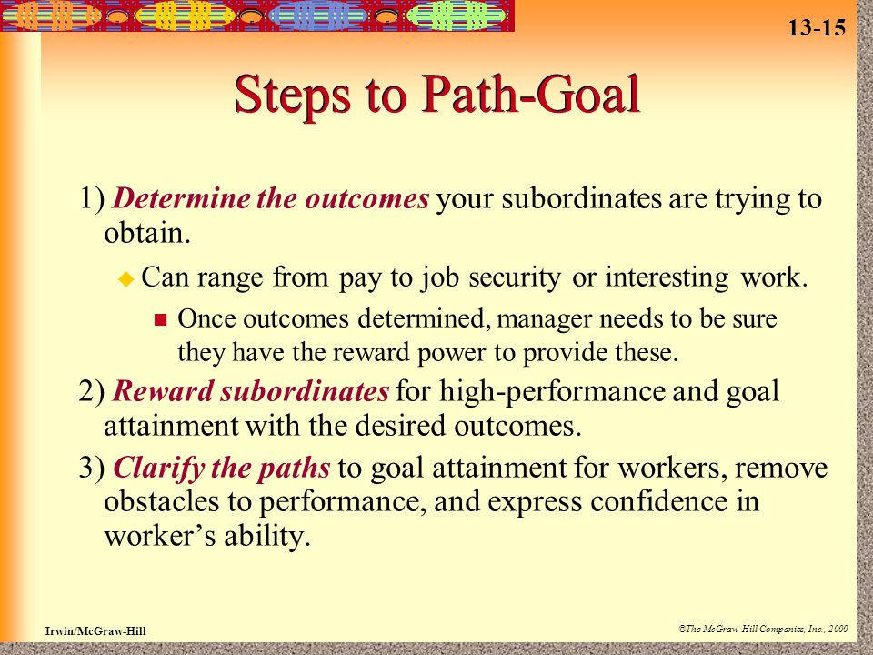 13-15 Irwin/McGraw-Hill ©The McGraw-Hill Companies, Inc., 2000 Steps to Path-Goal 1) Determine the outcomes your subordinates are trying to obtain.