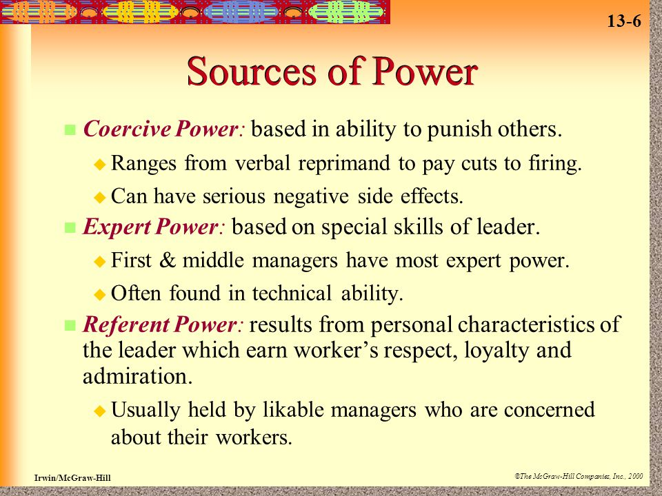 13-6 Irwin/McGraw-Hill ©The McGraw-Hill Companies, Inc., 2000 Sources of Power Coercive Power: based in ability to punish others.