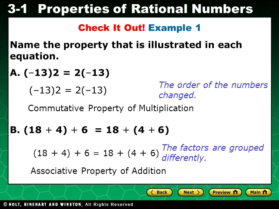 Evaluating Algebraic Expressions 3-1Properties of Rational Numbers Check It Out.