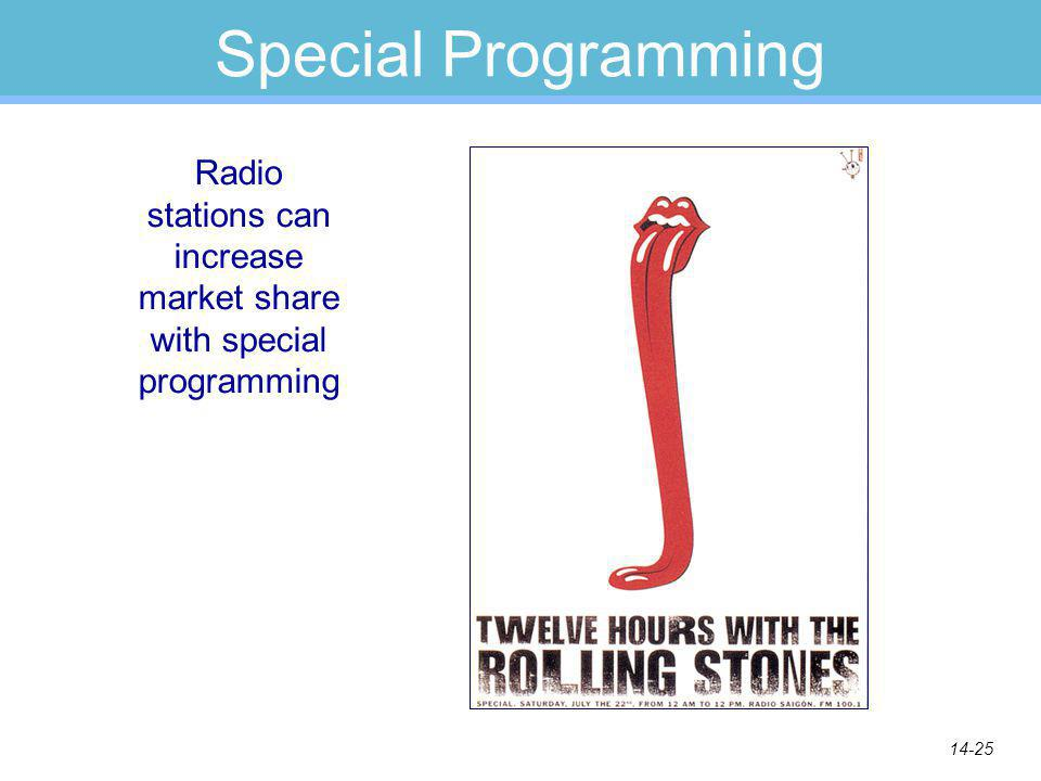 14-25 Special Programming Radio stations can increase market share with special programming