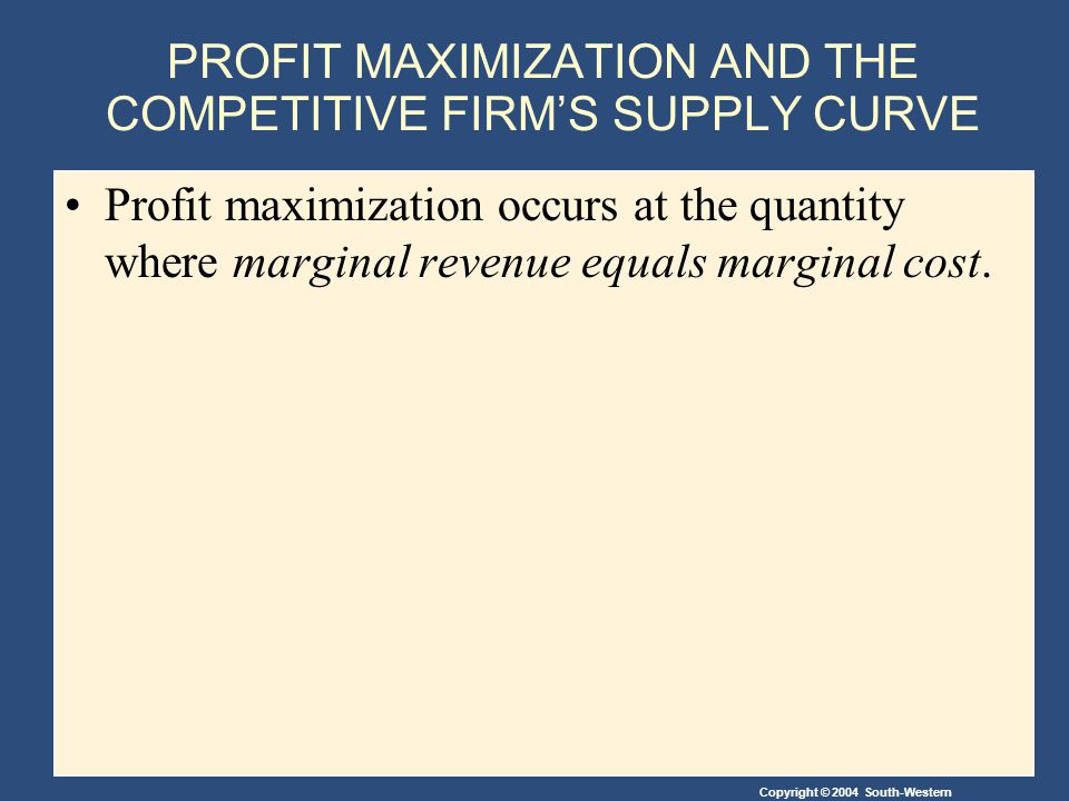 Copyright © 2004 South-Western PROFIT MAXIMIZATION AND THE COMPETITIVE FIRM'S SUPPLY CURVE Profit maximization occurs at the quantity where marginal revenue equals marginal cost.