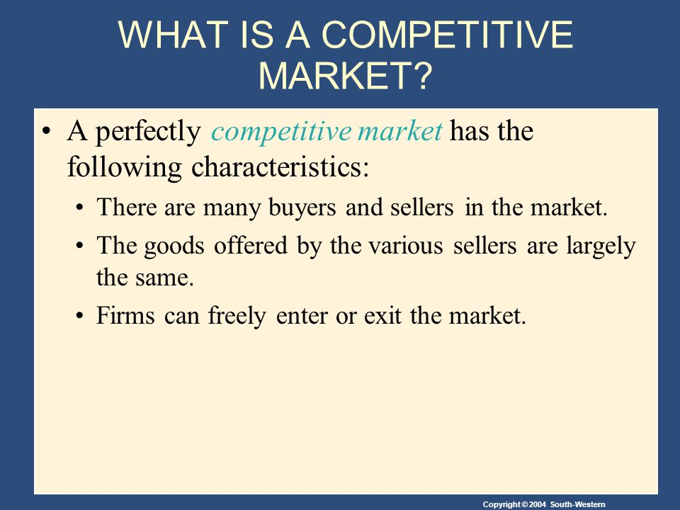 Copyright © 2004 South-Western WHAT IS A COMPETITIVE MARKET.
