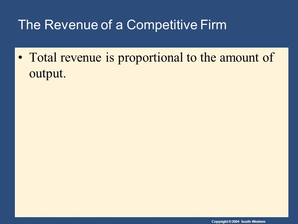 Copyright © 2004 South-Western The Revenue of a Competitive Firm Total revenue is proportional to the amount of output.