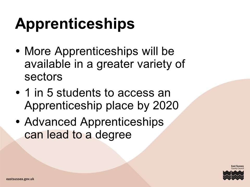 Apprenticeships  More Apprenticeships will be available in a greater variety of sectors  1 in 5 students to access an Apprenticeship place by 2020  Advanced Apprenticeships can lead to a degree