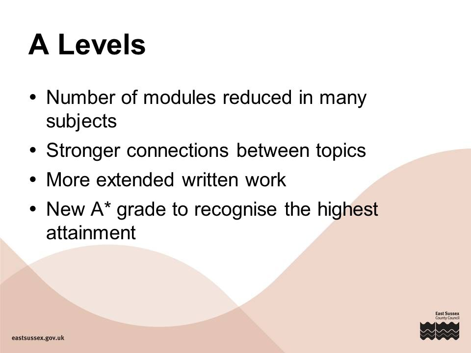 A Levels  Number of modules reduced in many subjects  Stronger connections between topics  More extended written work  New A* grade to recognise the highest attainment