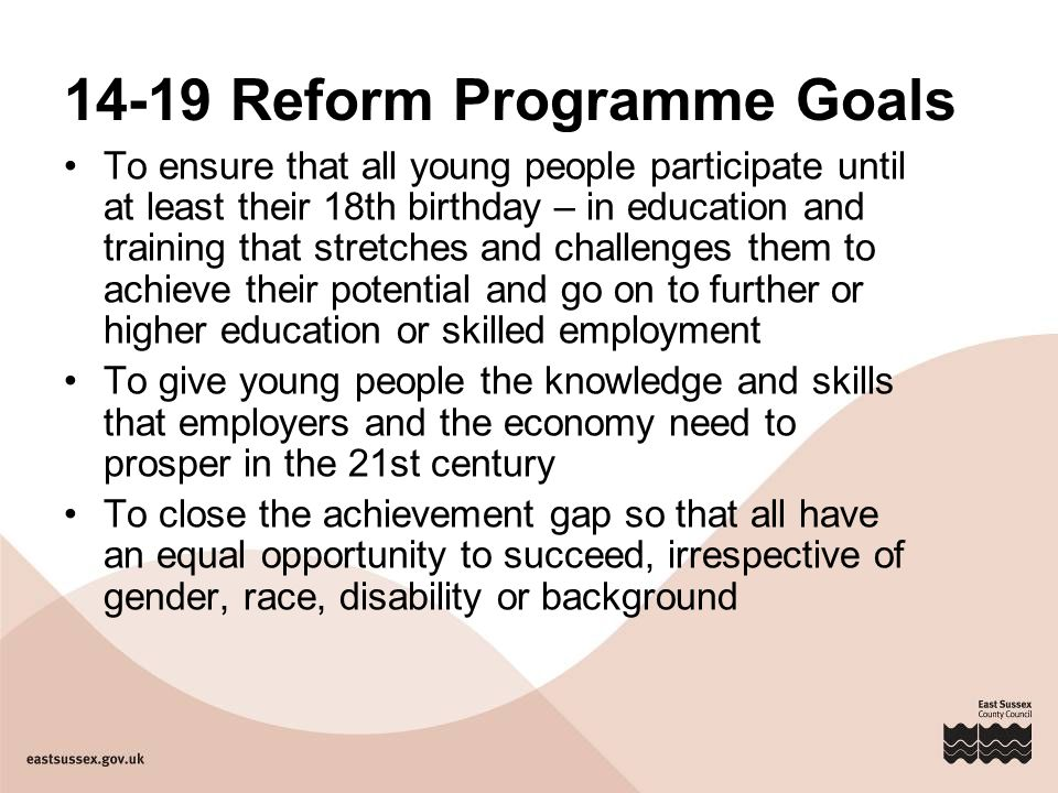 14-19 Reform Programme Goals To ensure that all young people participate until at least their 18th birthday – in education and training that stretches and challenges them to achieve their potential and go on to further or higher education or skilled employment To give young people the knowledge and skills that employers and the economy need to prosper in the 21st century To close the achievement gap so that all have an equal opportunity to succeed, irrespective of gender, race, disability or background
